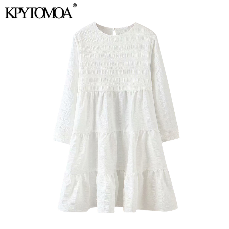 KPYTOMOA Women 2020 Sweet Fashion Ruffled White Mini Dress Vintage O Neck Long Sleeve Female Dresses Vestidos Mujer