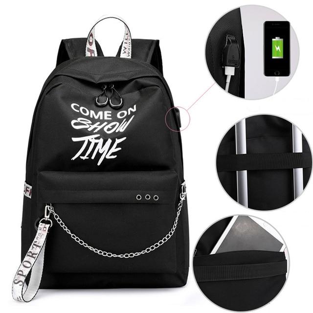 Winmax Luminous USB Charge Women Backpack Fashion Letters Print School Bag Teenager Girls Ribbons Backpack Mochila Sac A Dos 5