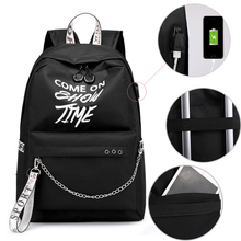Winmax Luminous USB Charge Women Backpack Fashion Letters Print School Bag Teenager Girls Ribbons Backpack Mochila Sac A Dos