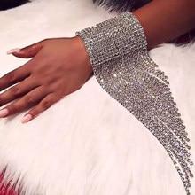 Moda uzun püskül taklidi bilezik el takı kadınlar için gelin kristal bildirimi bilezikler düğün takı