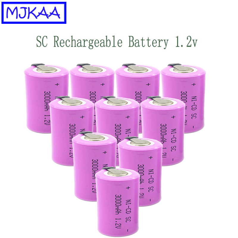 10pcs 1.2V Ni-CD Battery Sub C 3000mAh SC Rechargeable Battery With An Extension Cord Processed Into Tools Battery Pack