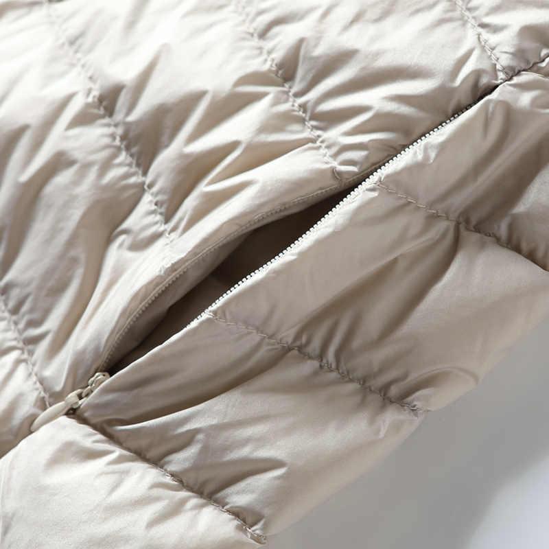 Colete feminino pato para baixo jaqueta mulher com capuz primavera outono ultra leve sem mangas casaco plus size chalecos para mujer j3831