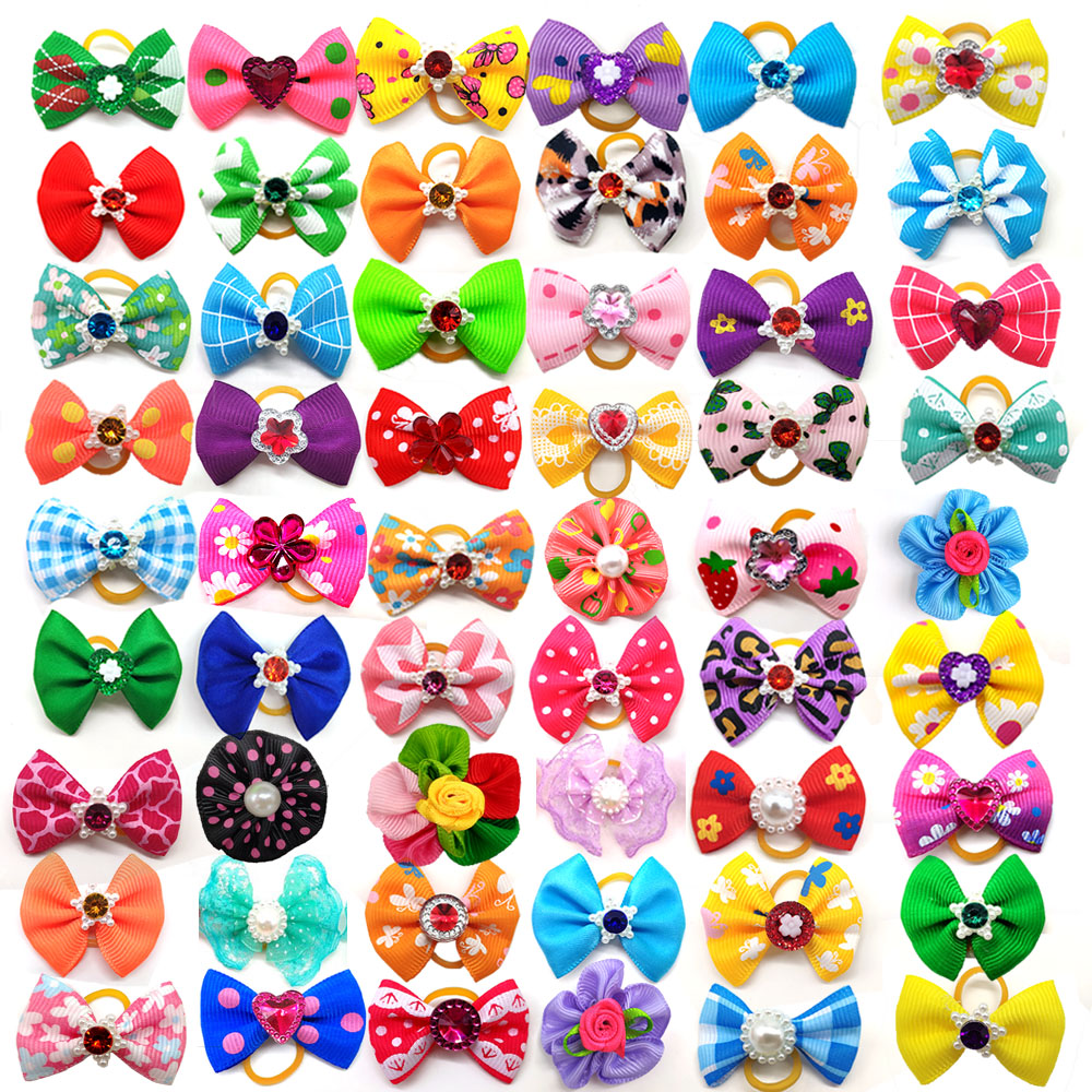 10pcs /20pcs/30pcs New Various Style Pet Dog Bows Pet Hair Bows Rubber Bands With Diamond Dog Bow Grooming Supplies Wholesale