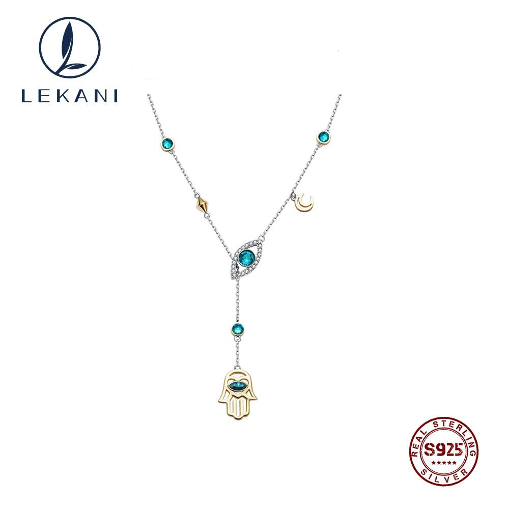 LEKANI 2019 изысканные кристаллы от Swarovski цепочка для ключиц чокер дьявол глаз рука хамса Подвеска, женские ожерелья хорошее ювелирное изделие