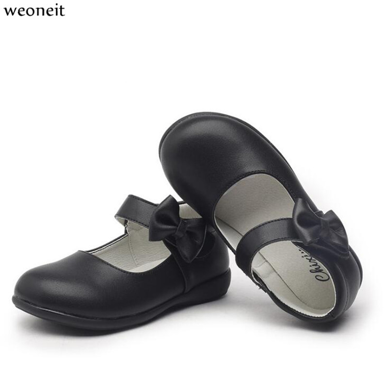 Weoneit Girls Shoes Leather Bowknot