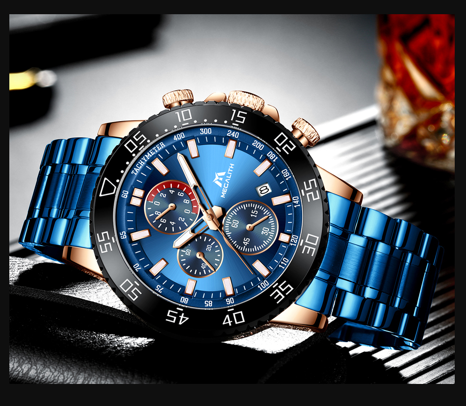 H421642b515bb45ad9e497899774ed009l MEGALITH Military Watches Men Stainless Steel Band Waterproof Quartz Wristwatch Chronograph Clock Male Fashion Sports Watch 8087
