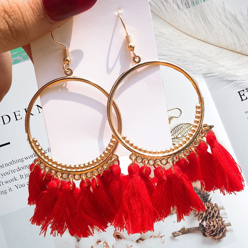 2019 Round Frame Hollow Drop Ethic Earrings Fringe sexy Sector Earrings Handmade Golden Girl Jewelry in Drop Earrings from Jewelry Accessories