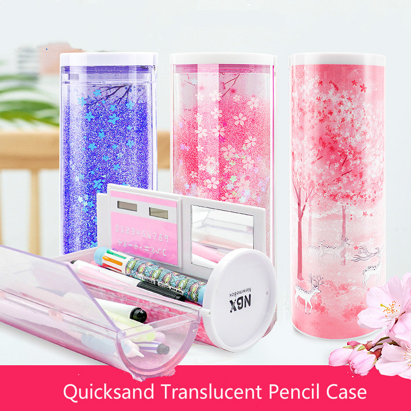 Korean Quicksand Translucent Pencil Cases Multifunction Cylindrical Pencil Box School Case Cute Girl Boy Pink Blue Pen Holder