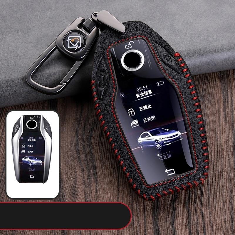Чехол для ключей из натуральной кожи, СВЕТОДИОДНЫЙ Автомобильный дисплей, чехол для ключей для BMW 5 7 series G11 G12 G30 G31 G32 i8 I12 I15 G01 X3 G02 X4 G05