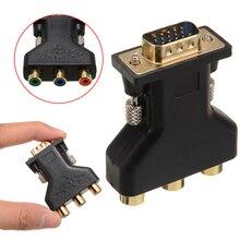 Mayitr RCA VGA وصلة محول 3 RCA RGB فيديو أنثى إلى HD 15 دبوس VGA نمط مكون فيديو مهايئ الرافعة التوصيل