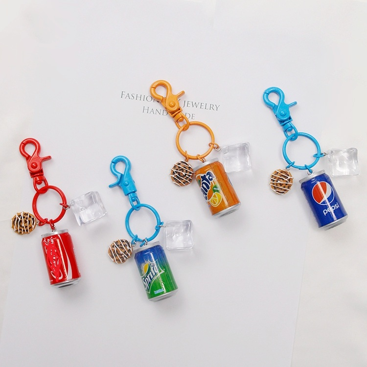 Cola Sprite Beverage Keychain For Women Or Men Keychain Summer Creative Key Rings Bag Backpack Charms Jewelry Car Keychain