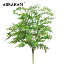 76cm Large Artificial Fern grass Bouquet Plastic Fake Tree Tropical Leaves Green Real Touch Plant Potted For Home Wedding Decor