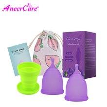 2PCS Feminine Vaginal Menstrual Tasse Hygiene Sterilisator Menstrual Cup Copa Medical Grade Silikon Reusable Coletor Menstruations