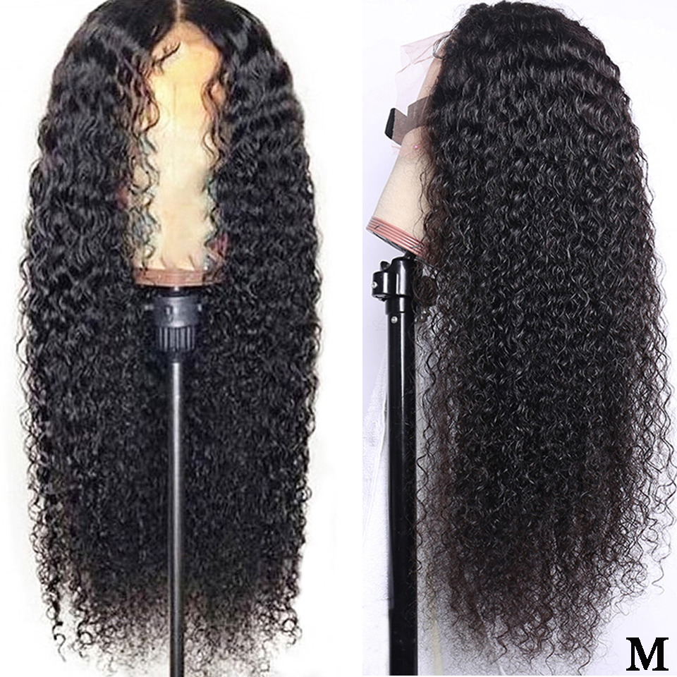 13x4 Brazilian Kinky Curly Human Hair Wig Pre Plucked With Baby Hair 150% Density Middle Ratio Remy Lace Front Human Hair Wigs