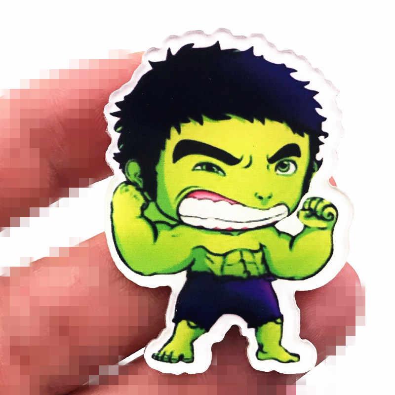 1PCS Broche Acrílico Para Acessórios Em Roupas de Alta Qualidade Crianças Festa De Aniversário Presentes Hulk Marvel Avengers Herói Crachá Pin