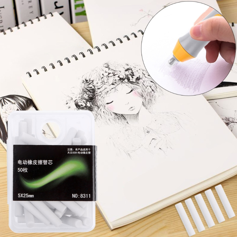 50 Pcs Electric Eraser Replacement Sketch Erasing Rubber School Stationeries Use DXAC