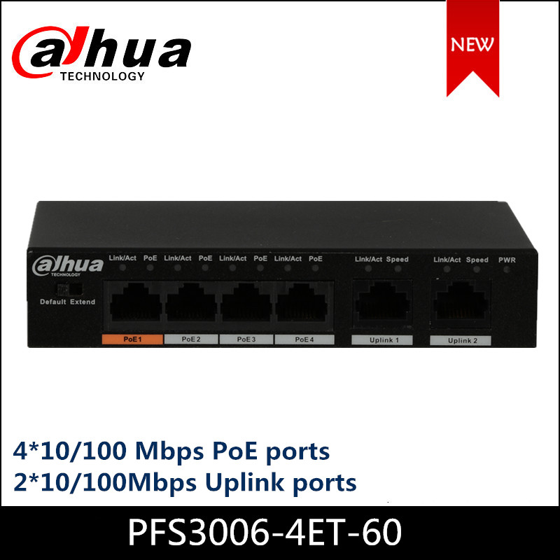 Dahua POE Switches PFS3006-4ET-60 4-Port Fast Ethernet PoE Switch Support 802.3af 802.3at POE POE+ Hi-PoE Camera Power