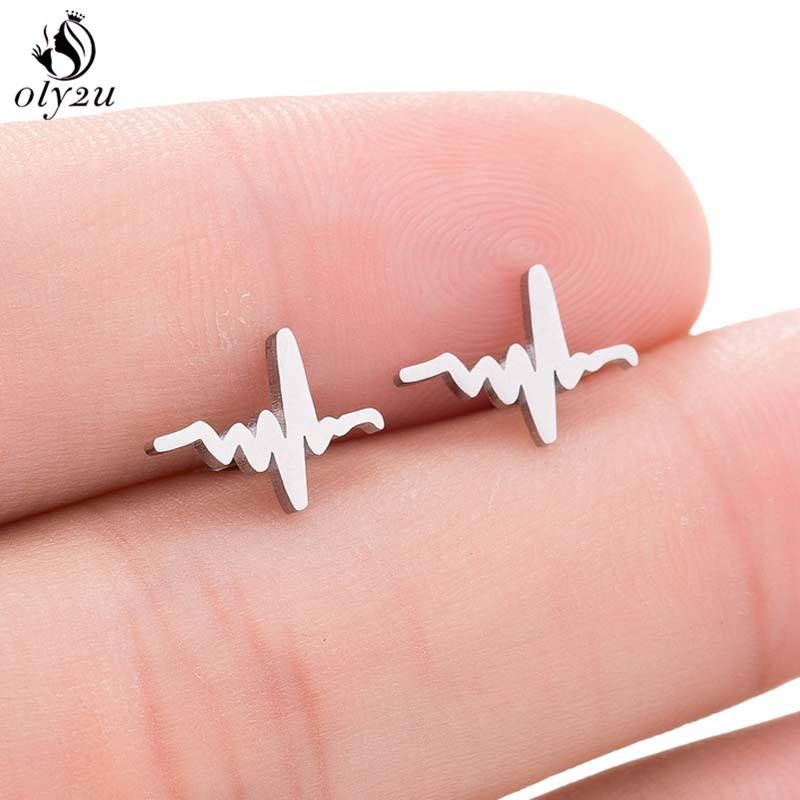 Oly2u Fashion Earings Simple Heartbeat Stud Earrings for Women Men Everyday Jewelry Nurse Doctor ECG Ear Studs bijoux(China)