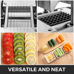 Commercial Vegetable Slicer 0.38 inches Blade Chopper Dicer Blade Removable and Replaceable Tomato Slicer with Tray Thre