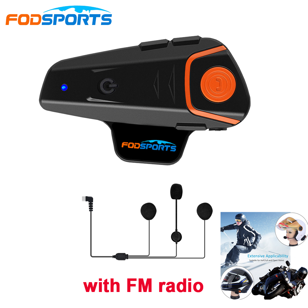 1pc Fodsports BT-S2 Pro Helm Intercom Bluetooth Headset 1000m Wasserdichte IPX6 Sprech Intercomunicador Moto Mit FM Radio