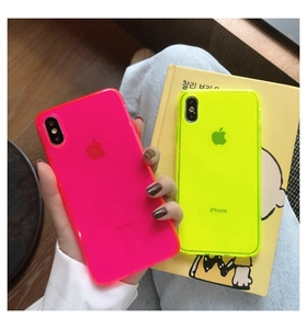 Fashion Fluorescent yellow Phone Case For iphone 11 Pro Max XR X XS Max 7 8 plus Back Cover luxury Couple Transparent Soft Cases(China)