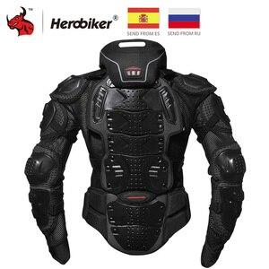 Image 1 - HEROBIKER motosiklet ceketler motosiklet zırhı yarış vücut koruyucu ceket motokros motosiklet koruyucu donanım + boyun koruyucu
