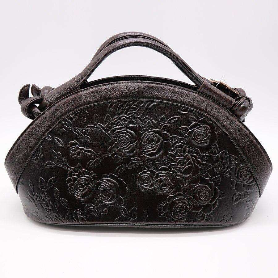 GO LUCK ยี่ห้อ Luxury Hobos ดอกไม้แกะสลักของแท้หนังผู้หญิงกระเป๋าถือสตรีไหล่กระเป๋าสุภาพสตรีกระเป๋า Messenger-ใน กระเป๋าสะพายไหล่ จาก สัมภาระและกระเป๋า บน   2