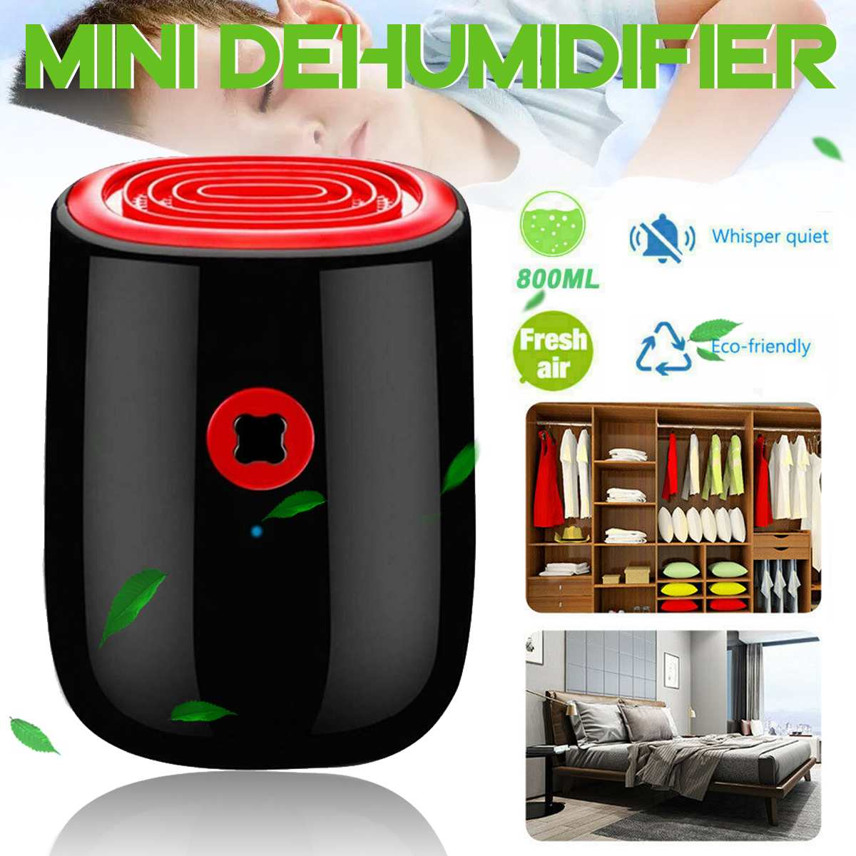 NEW 800Ml Electric Air Dehumidifier 22W Mini Household Dehumidifier Portable Cleaning Device Air Dryer Moisture For Home
