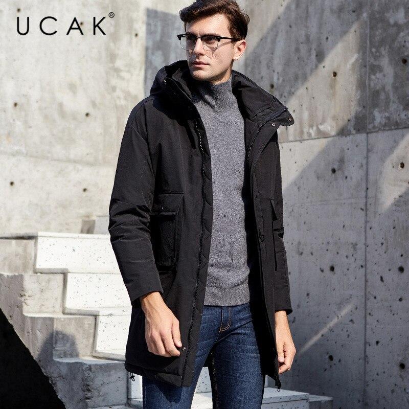 UCAK Brand White Duck Down Jackets Male Long Fashion Stylish Pockets Hooded Modern Casual 2019 Winter Men Clothing Jacket U8017