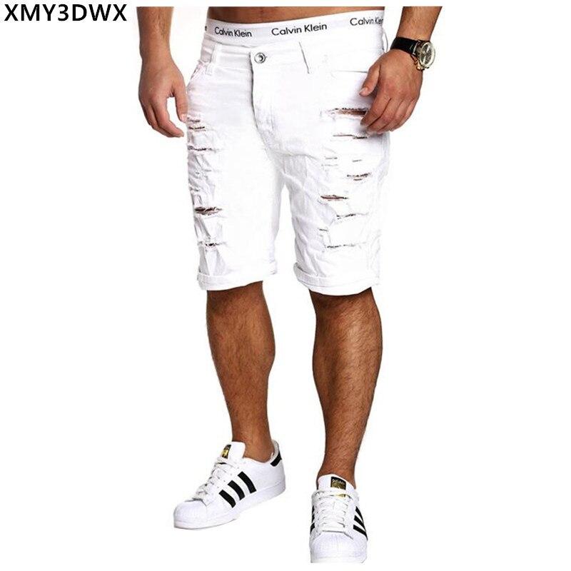 2019 New Summer Ripped Mens Denim Shorts Slim Regular Knee Length Short Hole Jeans Shorts For Male White Blue Black Red Coffee