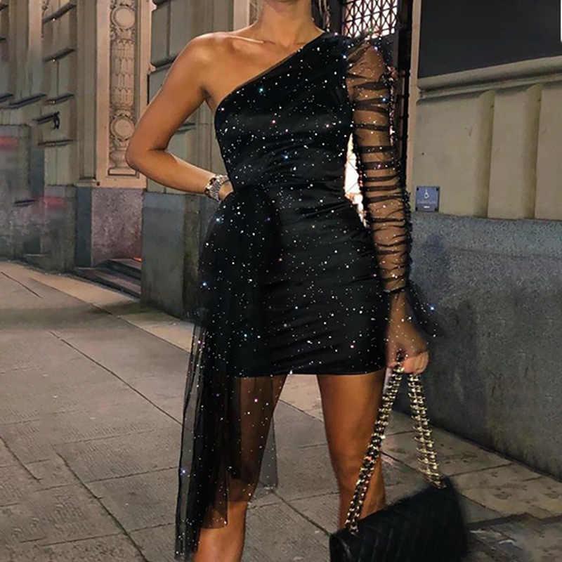 נשים נצנצים המפלגה שמלת כתף אחת Bodycon Sheer Mesh Ruched ארוך שרוול נקבה שמלות חדש אופנה גבירותיי מיני שמלה