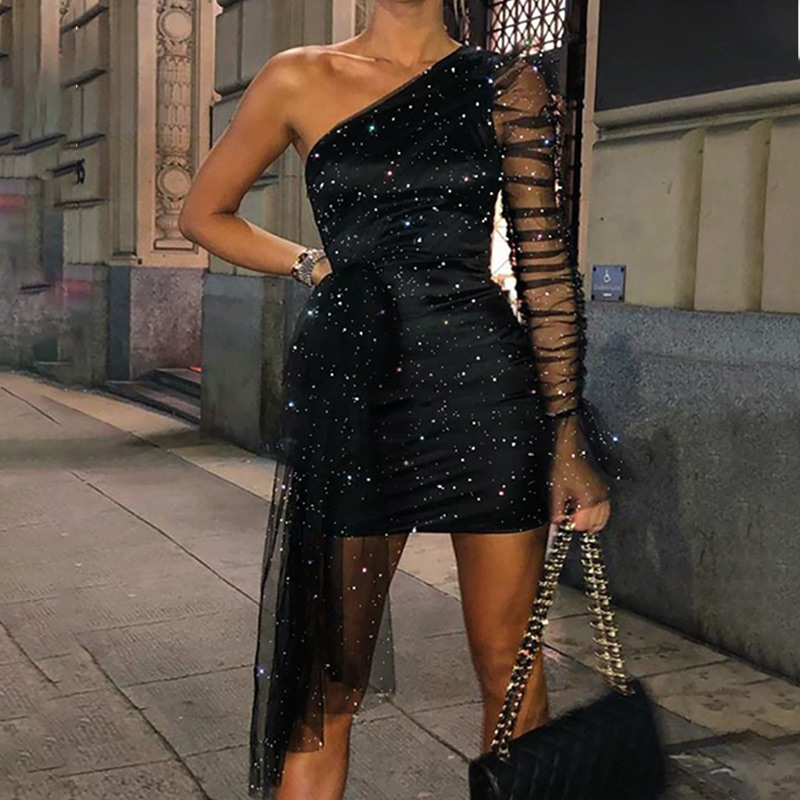 Women Glitter Party Dress One Shoulder Bodycon Sheer Mesh Ruched Long Sleeve Female Dresses New Fashion Ladies Mini Gown