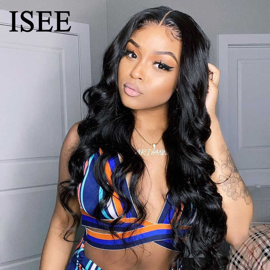 Body Wave 4x4 Lace Closure Wigs For Women Peruvian Body Wave Human Hair Wigs 150% Density ISEE HAIR 6x6 Lace Closure Wigs