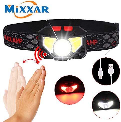 ZK20 Dropshipping Motion Sensor Induktive LED Scheinwerfer Scheinwerfer Wiederaufladbare Gebaut in batterie Kopf Taschenlampe Lampe ROT Angeln Licht