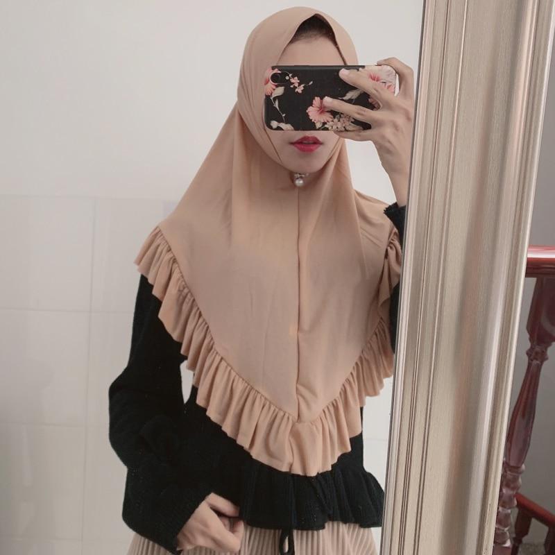 Fashion Plain Chiffon Instant Hijab Shawl Ruffles Muslim Hijabs Tudung Head Neck Shoulder Coverings Hood Headband