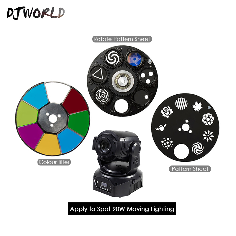 Djworld Hot Selling LED Spot Moving Head Light Accessories 90W 6 Prisms 60W 30W Color & Gobo Wheel Good For DMX 512 Stage Light
