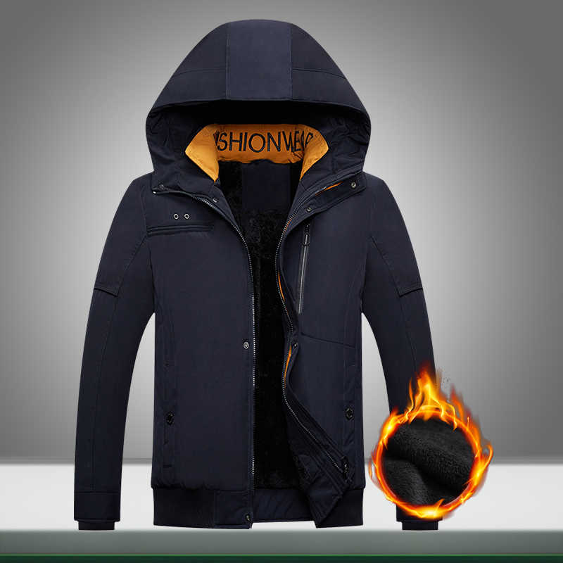 Winter Warm Men Jacket 2019 New Casual Hooded Park Coats Outwear Male Thicken Velvet Zipper Solid Overcoat Clothing Windproof