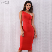 ADYCE Red One Shoulder Women Bandage Dress New Arrival 2020 Summer Sexy Sleeveless Celebrity Party Dress Backless Bodycon Dress