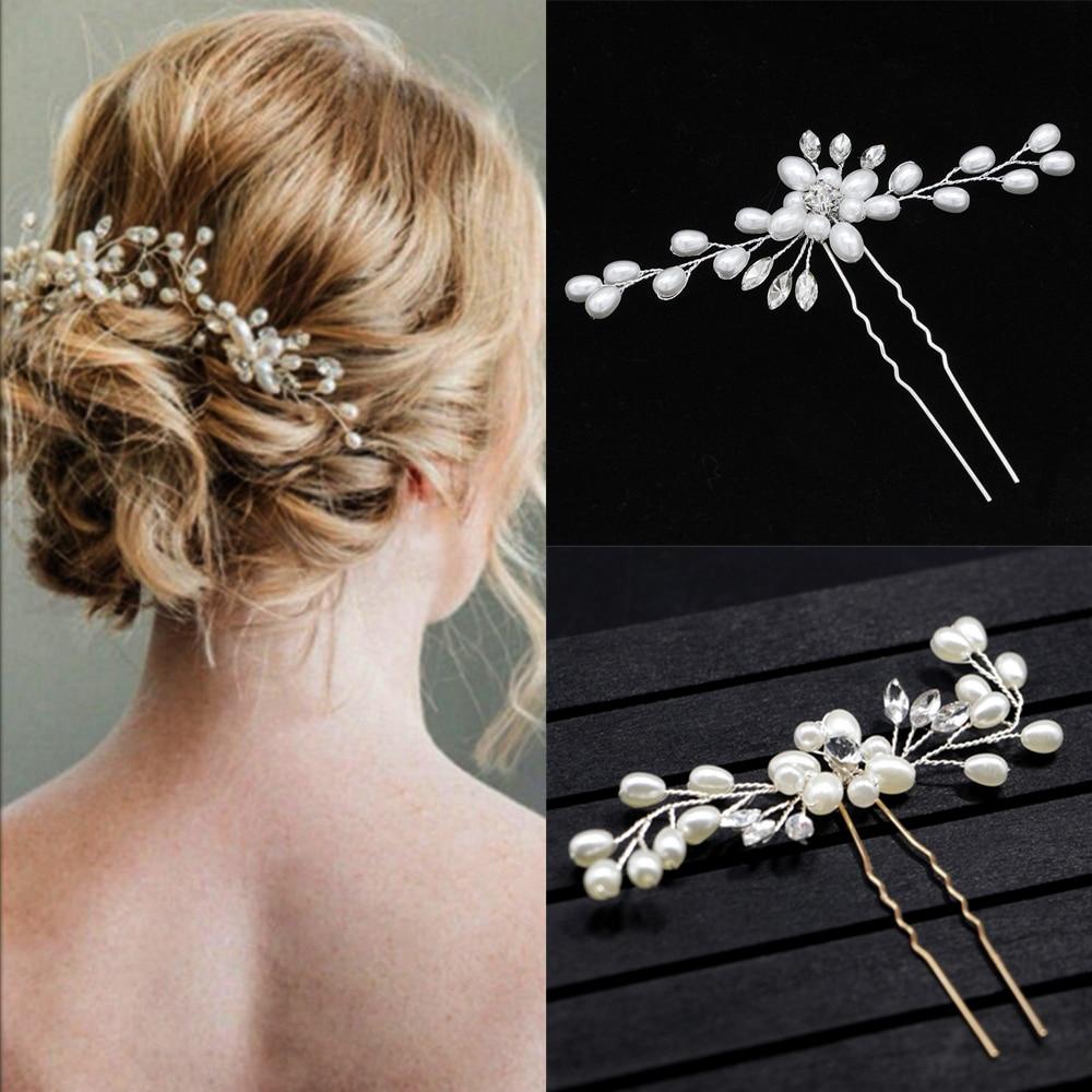 Flower Hair Accessories 1PC Pearl Handmade Wedding Crystal Elegant Bridal Silver Bridesmaid Bridal Veil Hair Pins Party
