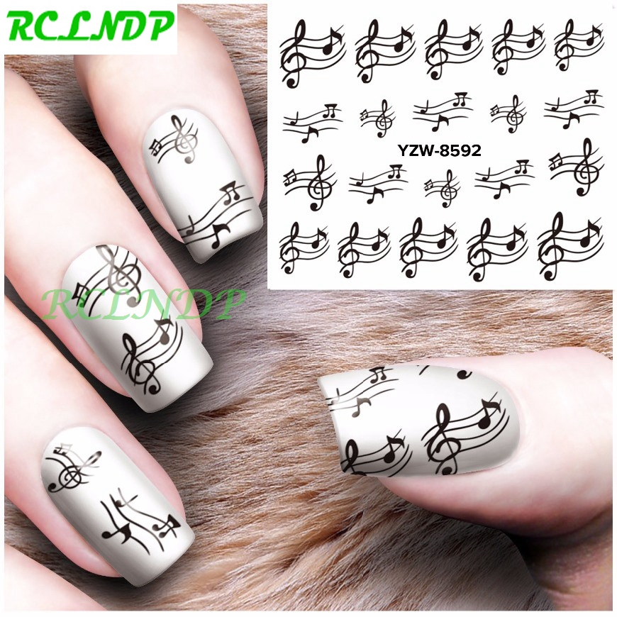 Water Sticker For Nails Art Decoration Sliders Black Musical Notes Stickers Adhesive Nail Design Decals Manicure Accessoires