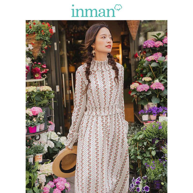 INMAN printemps automne Viscose coton élastique col montant taille définie romantique rétro impression femmes robe