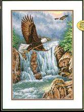 Bawełna piękny haft krzyżykowy zestaw do szycia orzeł majestat orzeł orły i wodospad góry dim 35225