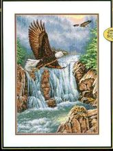 COTTON  Lovely  Counted Cross Stitch Kit Eagles Majesty Eagle Eagles and Waterfall Mountains dim 35225