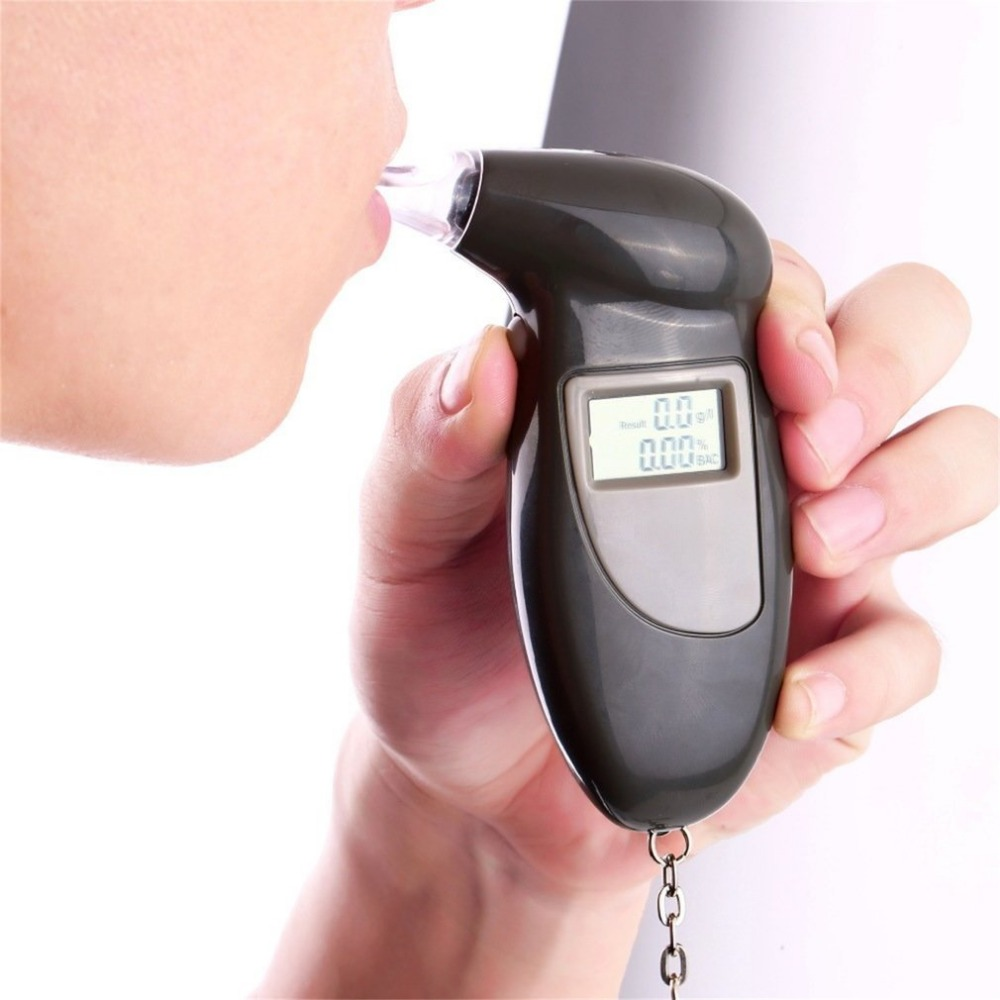 2pcs LCD Display Digital Alcohol Tester Professional Police Alert Breath Alcohol Tester Device Breathalyzer Analyzer Detector