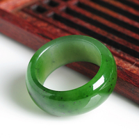 Natural spinach Green jasper ring with black dots men and women genuine and Hetian jade ring and Gold Hand Ribbon