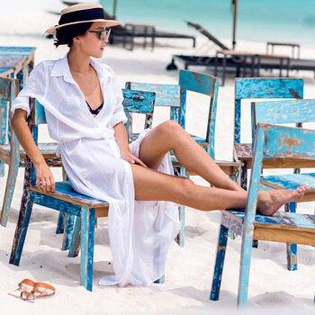 2019 Sexy Chiffon Beach Cover Up Bikini Swimwear Women Cover Up Beach Dress Shirt Long Tunics Bathing Suits Cover-Ups Beachwear 2
