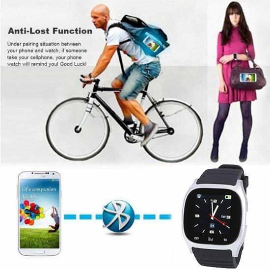 Srebrny inteligentny zegarek tydzień stoper SMS przypomnienie anty-zagubiony Alarm dla androida budzik
