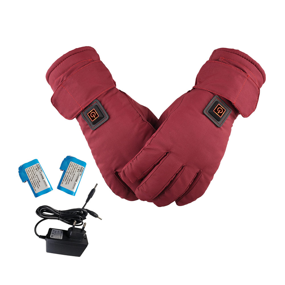 Женские аккумуляторные перчатки с электрическим подогревом, водонепроницаемые перчатки с сенсорным экраном сзади для мотоцикла, зимние теплые перчатки