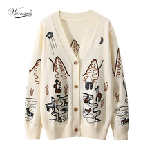 2021 Spring High Quality Fashion Embroidery V-Neck Oversized Cardigan Long Sleeve Single Breasted Button Knitted Sweater C-092