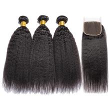 Alibele Yaki Bundles With Closure 4X4 레이스 클로저로 브라질 헤어 위브 3 번들 Human Hair Extension Remy Human Hair